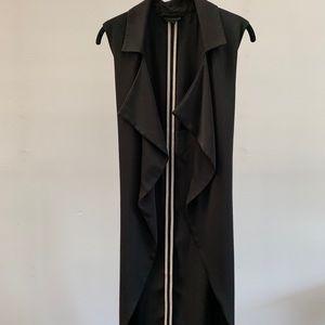 Belted sleeveless blazer